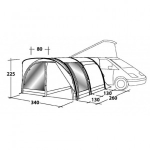 Outwell Hollywood Freeway SmartAir inflatable motorhome awning dimensions:
