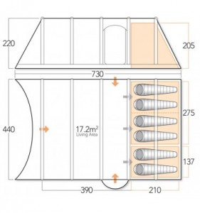Vango Eclipse 600 floorplan