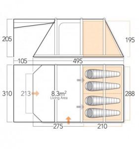 Vango Lumen V 400 Airbeam inflatable tent floorplan
