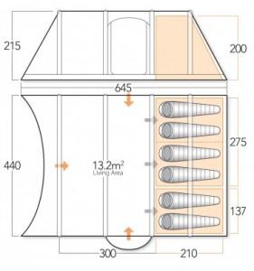 Vango Evoque 600 floorplan