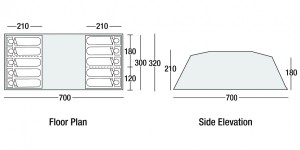 SunnCamp Sapphire 1000 floorplan and dimensions