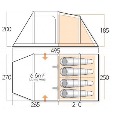 Vango Genesis 400 tent floorplan