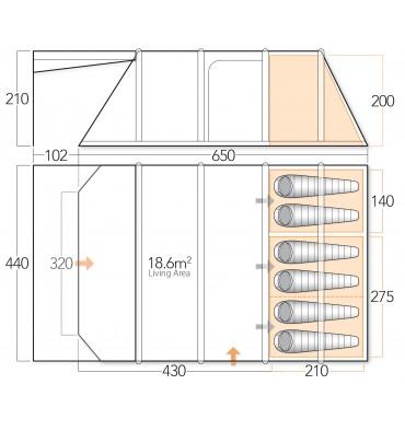 Vango Lumen V 600XL floorplan