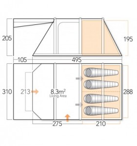 Vango Lumen V 400 Airbeam inflatable tent floorplan